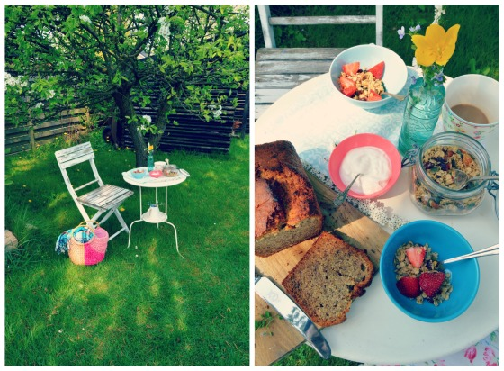 Breakfast in the garden with banana bread...