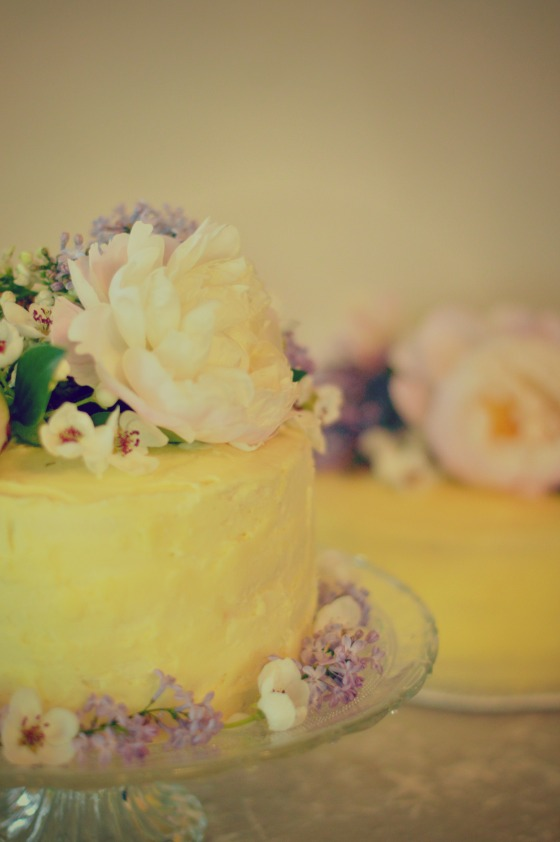 Peonies and cake